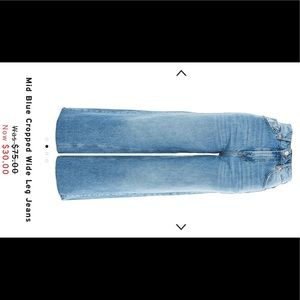 Topshop Mid Blue Cropped Wide Leg Jeans